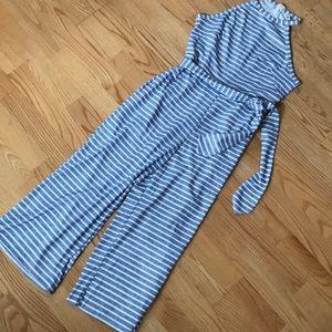 Pants - Blue White Striped Small Jumpsuit sz4 Crop